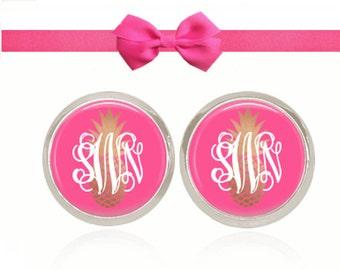 Monogram Earrings, Gold Pineapple Earrings, Pink Earrings, Studs, Post, Monogram Jewelry, Gift, (Pineapple On Pink - Stud Earrings)