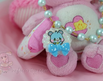 Candy Teddy Bear Baby Blue Character Resin Pendant Bow Necklace