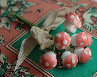 RESERVED for KATHRYN Pale Pink German Spun Cotton Mushrooms Set of 8 - Tiny Pastel Mushrooms - Polka Dot Toadstools - Woodland Spring