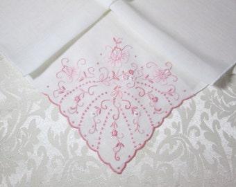 Vintage Madeira Linen Handkerchief Vintage Hankie Pink Embroidered Hanky