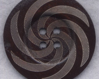 Dark Brown Wood Buttons Swirl BIG Wooden Buttons 60mm (2 3/8 inch) Set of 2/BT509