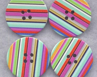 Striped Buttons Decorated Wooden Buttons 30mm (1 1/4 inch) Set of 4 /BT292