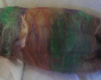 Alpaca Wool Silk Batt Spinning Fiber Rusty Brown Rose Green Blue 3.8 ounces B008