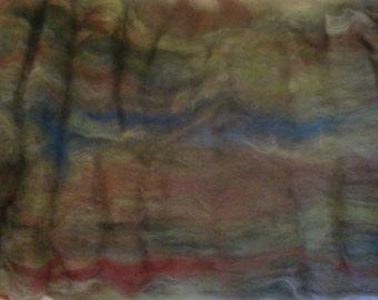 Alpaca Wool Soy Silk Batt Spinning Fiber Rusty Brown Oatmeal 3.4 ounces B005