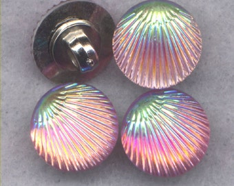 Pink Shell Buttons Aurora Borealis Finish Resin Shank Buttons 12mm (1/2 inch) Set of 8 /BT328