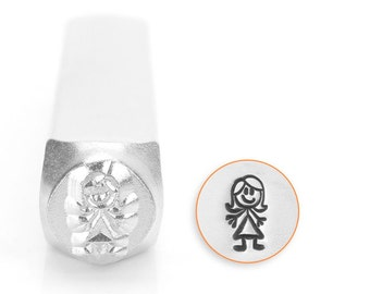 Auntie / Aunt Stick Figure Design Stamp, Metal Stamp, 7mm, Carbon Steel Stamp, ImpressArt Design Stamp, SC159-L-7MM, stick figure