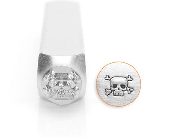 Skull & Cross Bones Design Stamp, Metal Stamp, 6mm, SC1515-D-6MM, Carbon Steel, ImpressArt Design Stamp, Skull Design Stamps