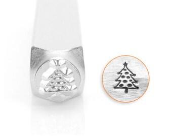 Christmas Tree Design Stamp, SC1520-E-6MM, Winter Design Stamps, Metal Stamp, 6mm, Carbon Steel Design Stamp, ImpressArt
