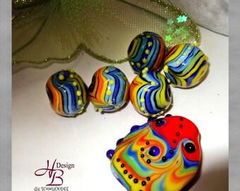 6 Rainbow Beads, Lampwork,Murano,SRA,Handmade