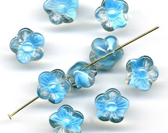 Vintage Flower Beads 13mm Button Back Aqua Blue Givre Glass 8 Pcs Made in Western Germany