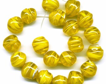 Vintage Yellow Givre Beads, 10mm Baroque Shape, Sunny Swirled Glass, Made in Japan, 20 Pcs.