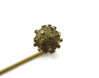 Antique Victorian Stick Pin - Etruscan, Sea Urchin, Sputnik