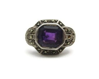 Art Deco Amethyst Ring - Sterling Silver Marcasite, Natural Stone