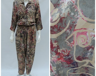 Vintage Jumpsuit // Vintage 80s Batik Jumpsuit  //  Vtg RED'S THREADS Dolman Sleeve Rayon Abstract Print Coveralls