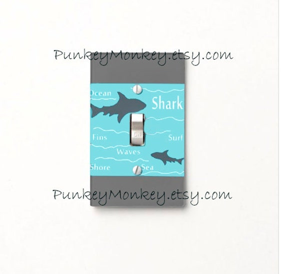 Shark Light Switch Cover Plate Bathroom Decor Ocean Beach Sea Made To