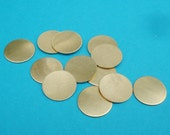 """Brass 12.5mm or 1/2"""" No Hole Flat Round Disc Pad Blank Stampings or Settings (12 pieces)"""