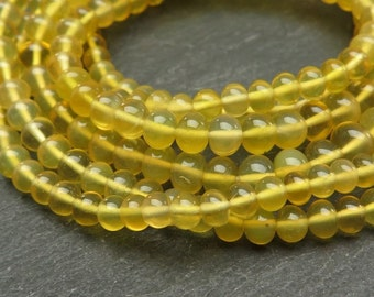 "Yellow Opal Rondelles, AAA, Smooth, 3.5-5mm - 8"" Strand (CG6828E)"