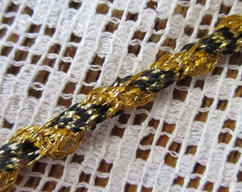 2 Yards Narrow 3/16 Inch Vintage Metallic Trim In Gold With Black Old Store Stock  C-3