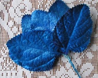 Velvet Millinery Leaves 12 Italy Hand Dyed Embossed Blue Velvet Ombre Leaves  NL-FL06