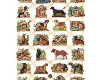 Germany Paper Scraps Lithographed Die Cut Victorian Dogs  7337