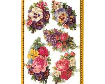 England Paper Lithograph Die Cut Scraps Rose Bouquets Flowers  A-90