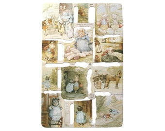 England Vintage Beatrix Potter Lithographed Die Cut Paper Scraps Pigling Bland 1784 Out Of Print