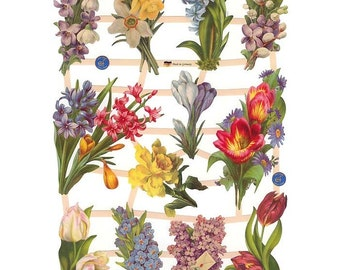 Germany Paper Scraps Die Cut Lithograph Victorian Easter Flowers  7413