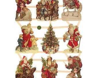 Germany Paper Scraps Lithographed Die Cut Victorian Santa Christmas   7403