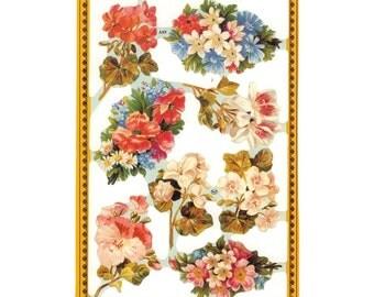 England Paper Lithograph Die Cut Scraps Flower Bouquets  A-89