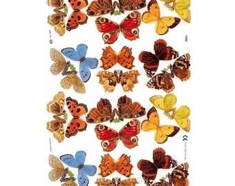 England Paper Lithograph Die Cut Scraps Butterflies  1986