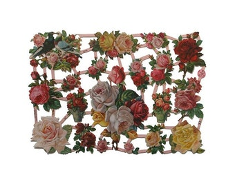 Germany Paper Scraps Die Cut Lithograph Victorian Pink Yellow Roses  7234