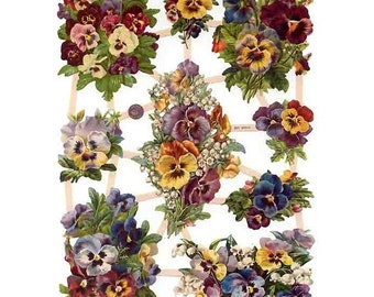 Germany Paper Scraps Lithographed Die Cut Victorian Pansy Bouquets  7422