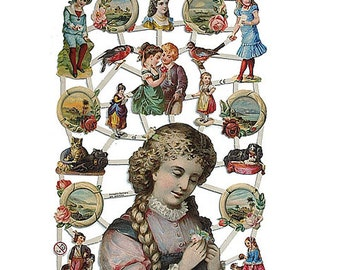 Germany Paper Scraps Lithographed Die Cut Victorian Children  7242