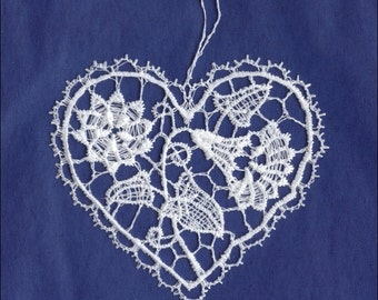 Germany Woven Cotton Thread Christmas Heart Ornament For Crafting  LHS0018