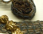 Oplulant 1 Yard Antique BLUE Silk SOUTACHE Metallic 1.25 Inch Open Weave TRIM Art Nouveau Divine!