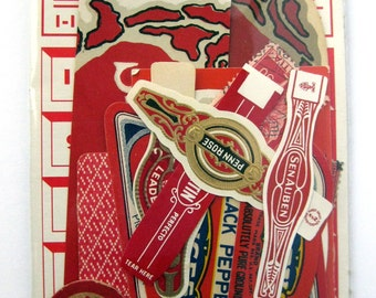 Vintage small Red ephemera scrap pack 15 pieces paper bits for your art projects