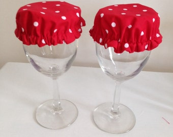 Reusable Wine Cup Glass Drink Cover Red White Polka Dot Fabric