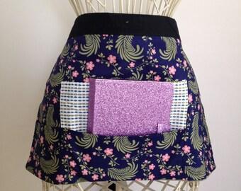 Vendor Half Waist Apron Craft Art Teacher iPad Pink Blue Flowers Fabric (4 Pockets)