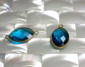 CLEARANCE 2pc Set Pendant/Connector/Link Oval Shape Fancy cut Faceted Aqua Blue Glass Gold plated Finding Jewelry Jewellery Craft Supplies
