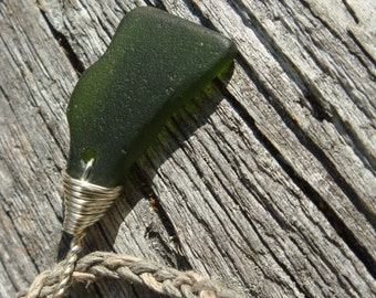 Hawaiian Surf Tumbled Green Sea Glass Pendant on Leather Necklace Beach Glass