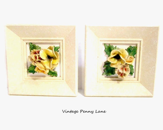 1950s Porcelain Flower Art, Vintage / Framed
