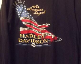 Vintage 80s, HARLEY DAVIDSON Long Sleeve Shirt, Tee, Biker, American Flag, Grunge, Rocker, 1989, 'Merica, USA, Large,Motorcycle, Harley