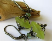 Spring Green Danglers - Lampwork Earrings