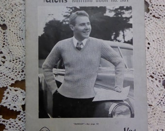 Patons No. 361 - Vintage Kniting Pattern 1930s - for men - ACTUAL PATTERN BOOKLET