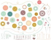 Vintage buttons clip art - sewing clipart thread needle handmade sew stitch love seamstress stitched thread pins personal commercial use