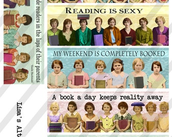 Bookmarks, Digital Collage Sheet ,2X6 inch, Girlfriends and books (Sheet no. FS239) Instant Download