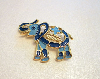 Vintage J.J. Elephant Brooch Enamel