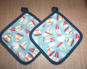 SAILBOATS and ANCHORS on BLUE Pot Holder Set of 2 for kitchen