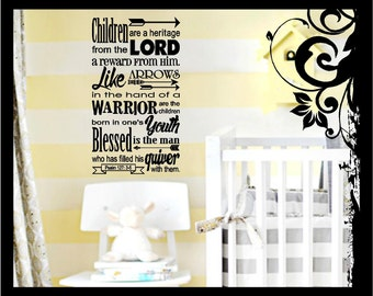 Christian Bible Verse Vinyl Wall Decal Psalm 127:3-5 Children are a Heritage from the Lord Vinyl Decal