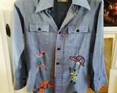 Vintage 70's Denim embroidered  shirt sz 12 Xs sports